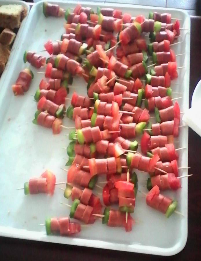 Healthy foods- Sausage, smokies, tomatoes & green sweet pepper